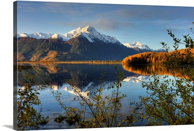 Scenic view of Pioneer Peak reflecting in Jim Lake in Mat Su Valley, Alaska