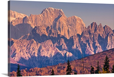 Scenic view of sunrise on Moose's Tooth and the Alaska Range