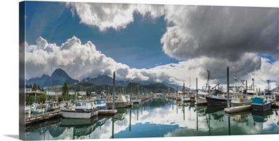 Scenic view of the Cordova small boat harbor, Prince William Sound, Alaska