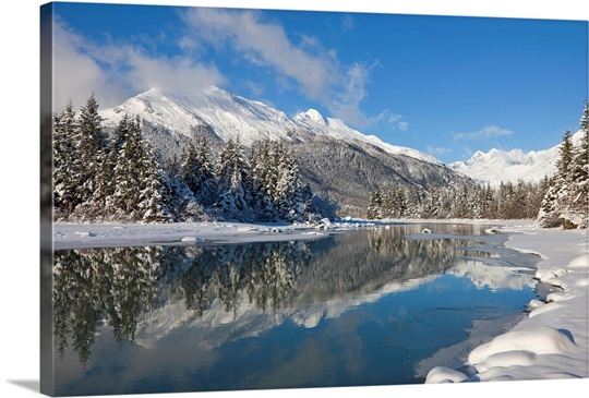 Scenic winter landscape of mendenhall river mendenhall glacier and towers canvas