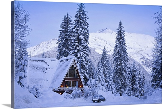 scenic winter view of an a frame home with the chugach. Black Bedroom Furniture Sets. Home Design Ideas