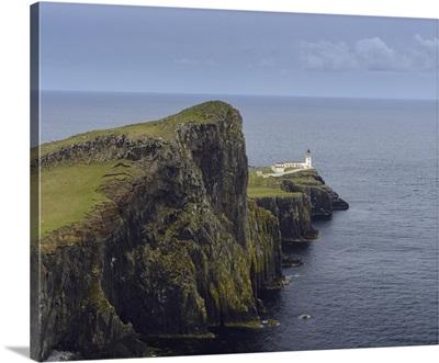 Scottish Coast With Neist Point Lighthouse On The Isle Of Skye In Scotland, UK