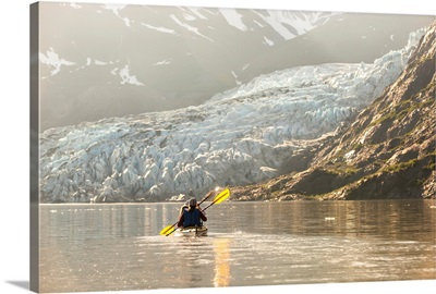 Sea kayakers at Shoup Bay State Marine Park, Prince William Sound, Valdez, Alaska