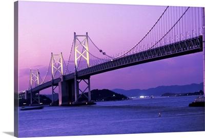 Seto Ohashi Bridge At Dusk; Japan