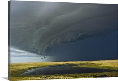 Shelf cloud with thunderstorm over Grasslands National Park, Saskatchewan