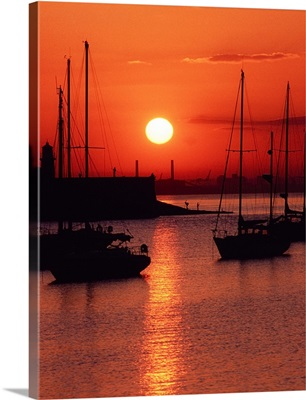 Ships at Sunset, Dun Laoghaire Harbour, Co Dublin, Ireland