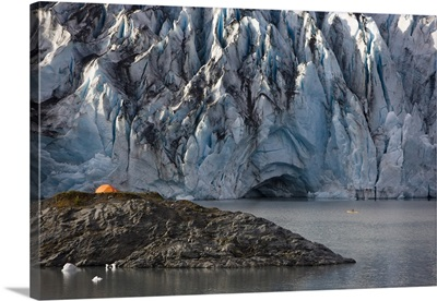 Shoup Glacier With A Camp Tent, Shoup Bay State Marine Park, Prince William Sound