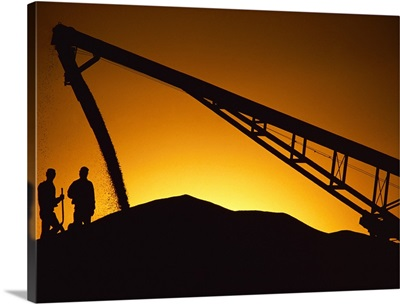 Silhouette of workers and corn being augured onto an overflow pile at a grain elevator