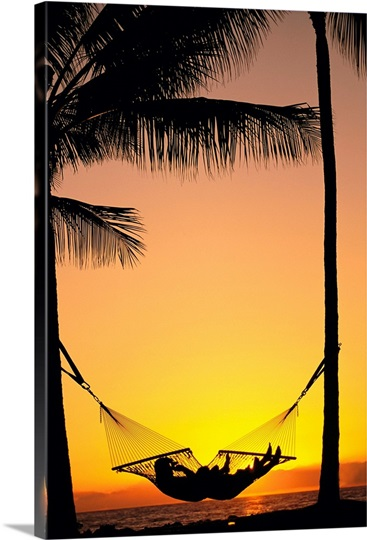 Silhouetted Couple Laying In Hammock On Beach At Sunset Wall Art ...