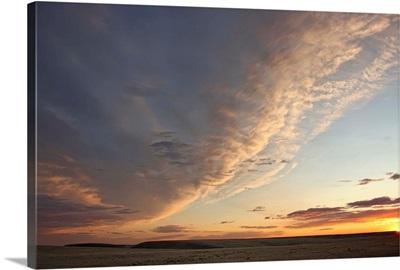 Skies Over Grasslands National Park At Sunset, Saskatchewan, Canada