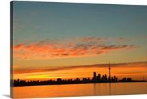Skyline Of Toronto Against A Beautiful Sunset
