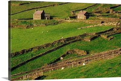 Slea Head, Dingle Peninsula, County Kerry, Ireland; Aerial Of Farmscape