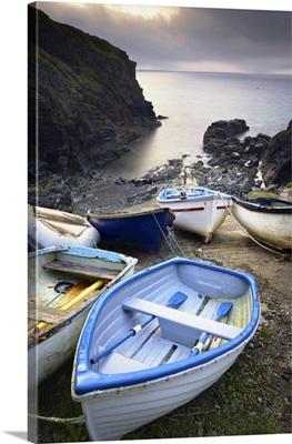 Small Boats On Beach, Church Cove, Lizard Peninsula, Cornwall, England