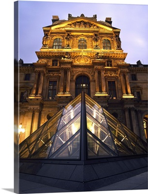 Small Glass Pyramid Outside The Louvre Museum At Dusk; Paris, France