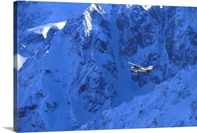 Small Plane Flying Above Chugach Mountains, Southcentral Alaska