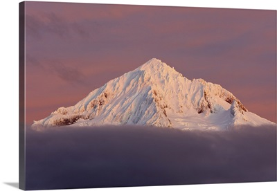 Snow-Covered Peak Of Mount Hood, Pacific Northwest, Oregon