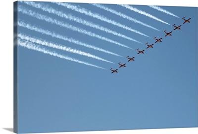 Snowbirds Flying In Formation, Cne, Toronto, Ontario