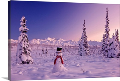 Snowman at sunset, snow covered spruce trees, Chugach Mountains