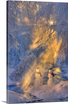 Snowman Couple Standing Next To A Stream With Sunrays