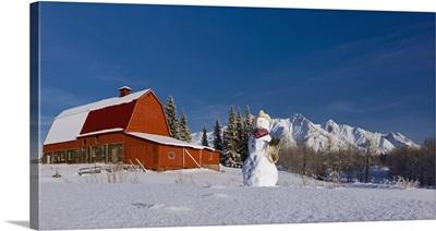 Snowman Dressed Up As A Cowboy, Southcentral Alaska