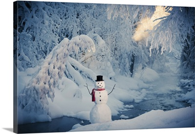 Snowman Next To A Stream With Hoar Frosted Trees, Russian Jack Springs Park
