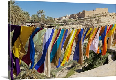 Souvenir Scarves Flap In The Breeze Above The Canyon Near The Algerian Border