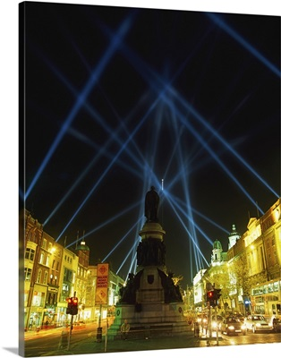 Spire Of Dublin, O'connell Street, Dublin, Ireland; Eu Celebrations With Searchlights