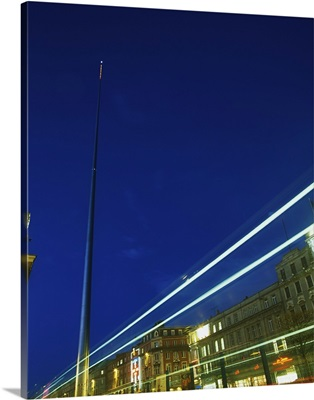 Spire Of Dublin, O'connell Street, Ireland; Sculpture Against Traffic Light Streams