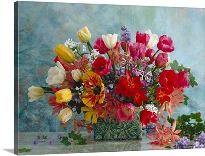 Spring flower bouquet of Tulip, Hyazinthus, Allium, Pieris, and Hesperis