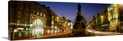 Statue Of A Man On A Pedestal On O'Connell Street, Dublin, Republic Of Ireland