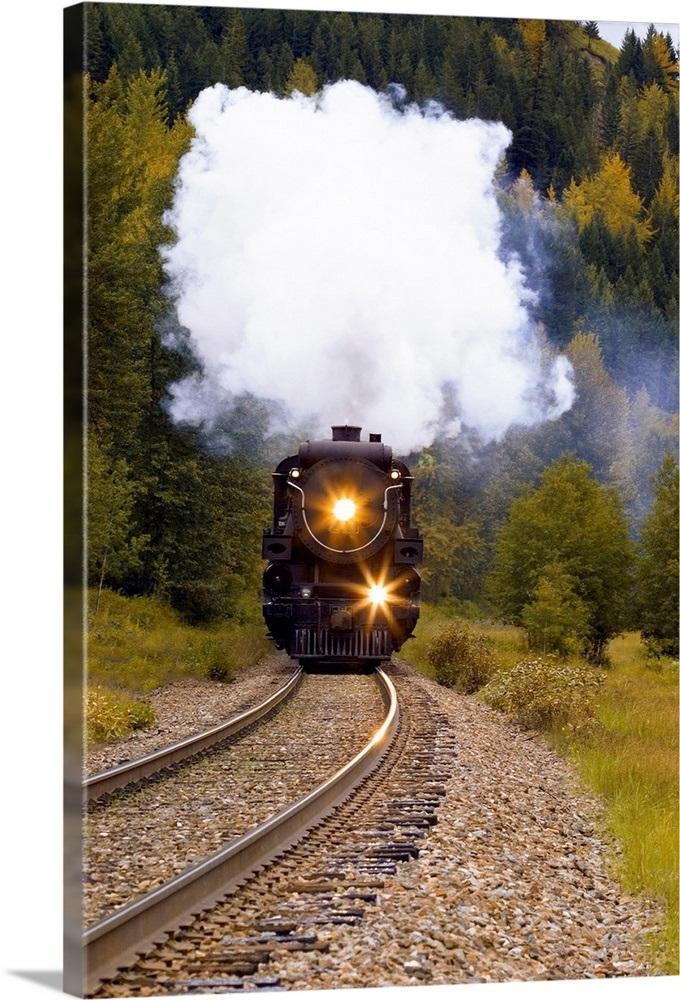 Steam Train On Tracks Wall Art, Canvas Prints, Framed ...