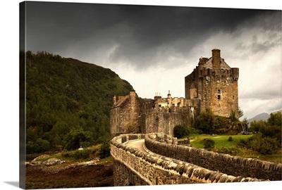Stone Bridge Leading To A Castle Under A Stormy Sky, Kyle Of Lochalsh Highlands Scotland