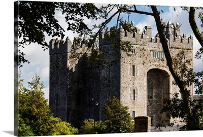 Stone castle framed within trees with clouds and blue sky, Bunratty, Ireland