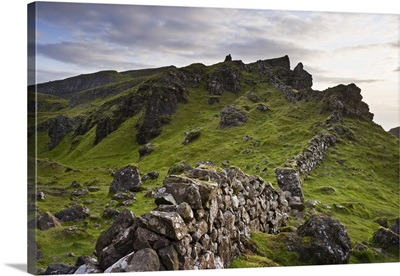 Stone Fence On Ridge, Isle Of Skye, Scotland