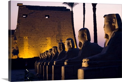 Stone Statues And The Luxor Temple Along The Nile River; Luxor, Egypt