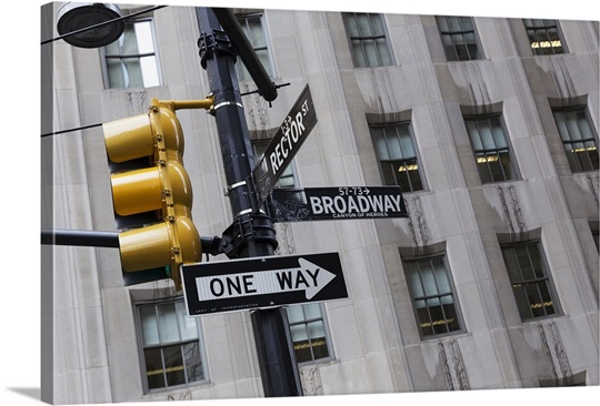Wall Hanging Traffic Light : Street sign and traffic light on Broadway, New York City, New York Wall Art, Canvas Prints ...