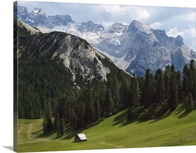 Summer Alpine Meadows And Hut; Italy