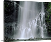 Summer Bridalveil Waterfall Southcentral Alaska Blurred Valdez Mountain Plants