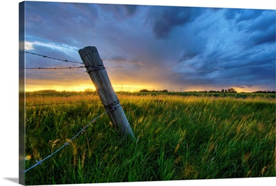 Summer Thunderstorm And Fencepost, Alberta, Canada