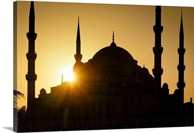 Sun Setting Behind Blue Mosque, Istanbul, Turkey