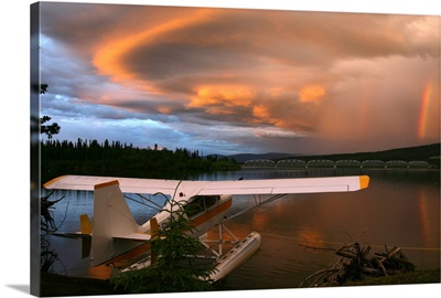 Sunlit Storm Clouds Over A Float Plane, Teslin Lake, Yukon, Canada