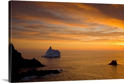 Sunrise And Iceberg, Newfoundland And Labrador, Canada