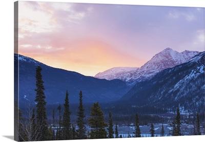 Sunrise Lights Clouds Above The Sentinel Range, Muncho Lake Provincial Park
