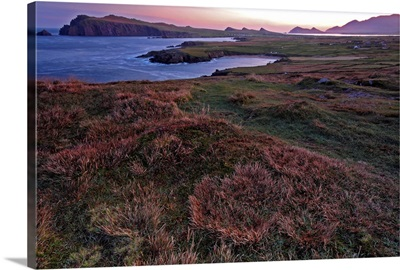 Sunrise View Of Clogher Beach And The Three Sisters Peaks; County Kerry, Ireland