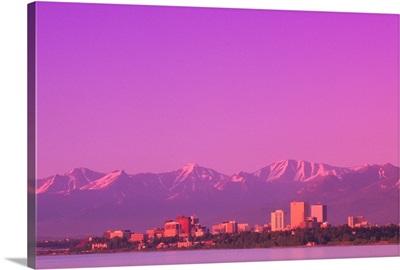 Sunset Anchorage Skyline Summer Southcentral Alaska