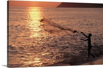 Sunset And Fisherman, Rio De Janeiro, Brazil