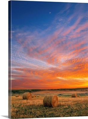 Sunset And Haybales; Cremona, Italy