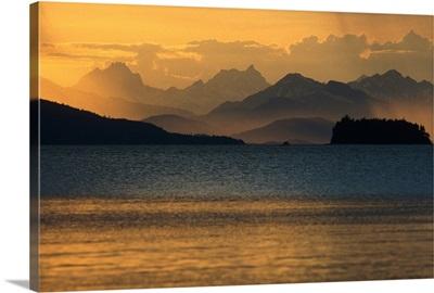 Sunset at Chilkat Range and Favorite Channel SE Alaska Summer