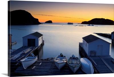 Sunset, Boats And Sheds, Twillingate, Newfoundland And Labrador, Canada