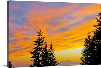 Sunset clouds over Iliamna Volcano near Nikolaevsk on Kenai Peninsula, Alaska